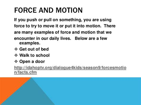 On Science Forces And Motion and motion in elementary science