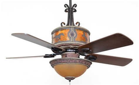 western ceiling fans with lights cc kvshr lth hs lk420 horses western leather colored