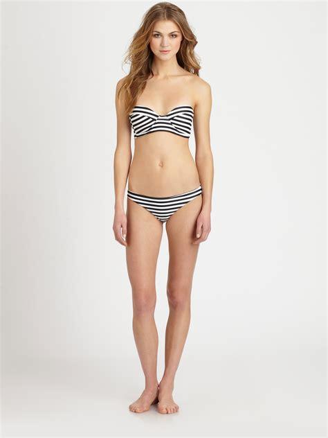 Swimsuit Black White Stripe mikoh swimwear zuma striped fullcoverage bottom in white lyst