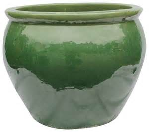 Planters And Pots 20 quot ceramic oriental fishbowl planter in jade green