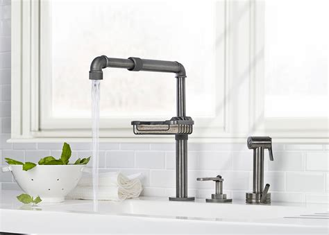 industrial faucets kitchen industrial style faucets by watermark to give your plumbing the cool look you always wanted