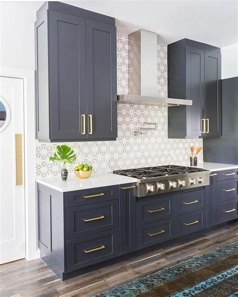 Navy Blue Kitchen Cabinets Navy Blue Cabinets Textiles Kitchen Kitchen Design Navy Blue
