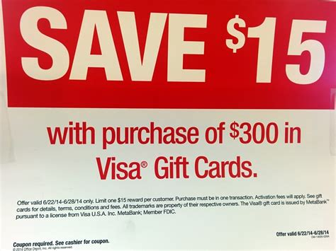 visa gift card fine print officemax 15 off 300 visa gift cards june 22nd 28th
