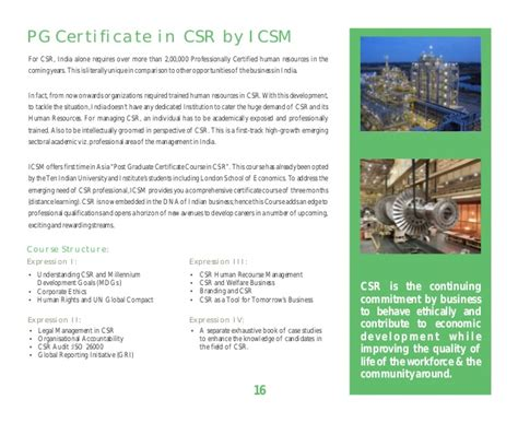 Mba In Csr Mysore by Brochure For Mba In Corporate Social