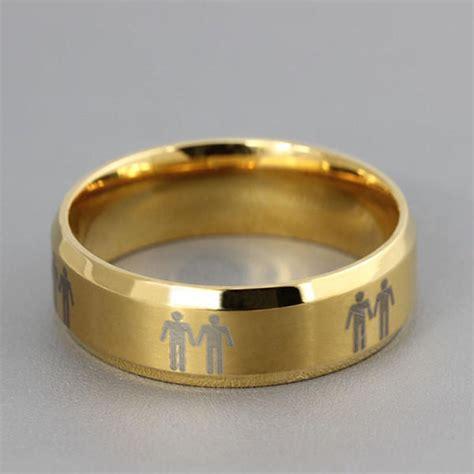 titanium mens pride promise ring gold from