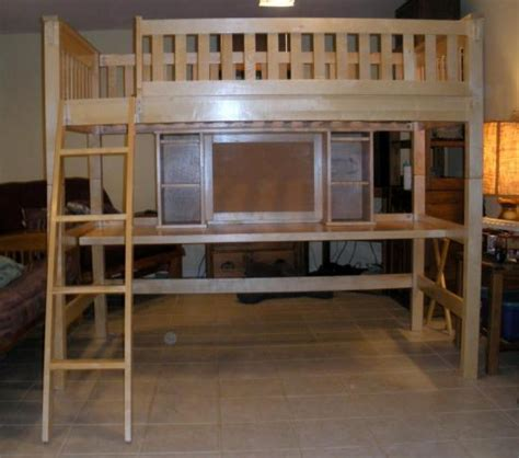 wooden childs college size loft bunk bed w