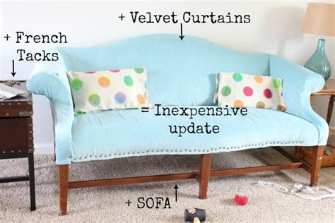 diy upholstered couch diy upholstered sofa with curtains easy and inexpensive