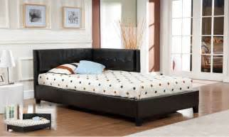 black leather tufted corner headboard for bed for