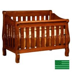 Solid Wood Baby Crib Amish Sleigh 4 In 1 Convertible Baby Crib Solid Wood Made In Usa American Eco Furniture