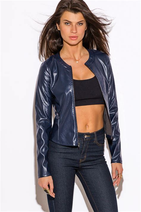cheap moto jacket shop navy blue faux leather croc embossed zip up moto jacket