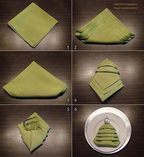 christmas tree napkin folding tutorial pictures