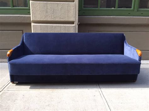 1950s Blue Velvet Sleeper Sofa For Sale At 1stdibs