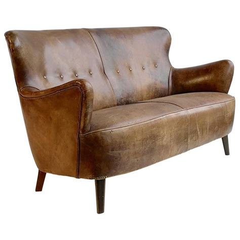 cognac leather chair and ottoman cognac leather sofa with a rich patina by theo ruth for