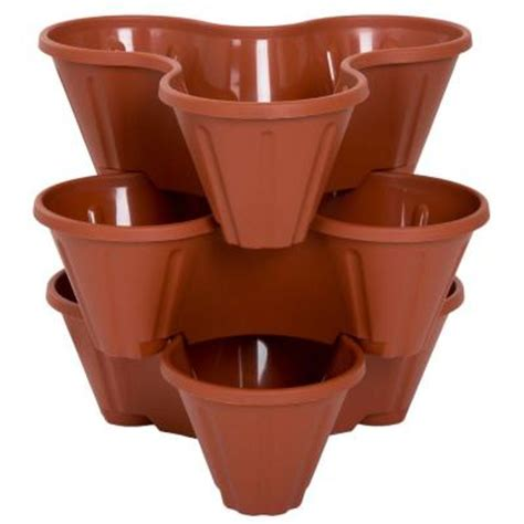 home depot plastic planters garden 13 in plastic stackable planters 3 pack