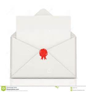 open envelope with wax and blank letter stock images