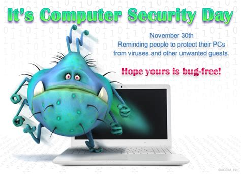 day security 11 30 computer security day celebrate the date ecard