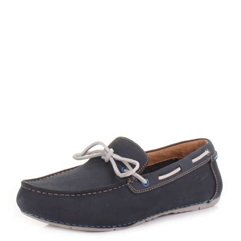 clarks flat shoes mens clarks marcos edge navy suede slip on loafers decks