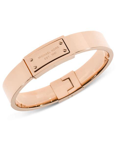 Michael kors Rose Gold Tone Logo Plaque Bangle Bracelet in Metallic   Lyst