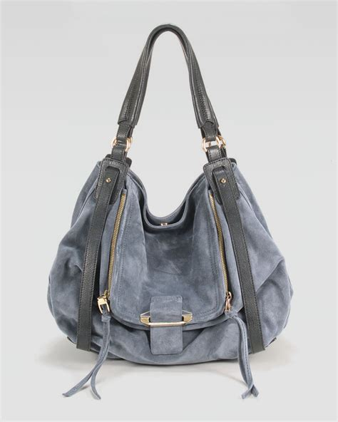 Neiman Sale Continues With Goods From Marc Kooba Tracy by Kooba Jonnie Suedeleather Hobo In Blue Taupe Lyst