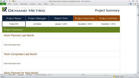 Project Status Report Template Youtube Project Update Template Excel