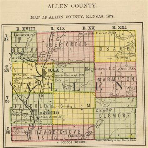 map of allen biennial report 1878 allen county kansas