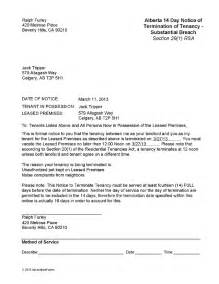 Notice To Terminate Lease Agreement by Alberta Notice To Terminate Tenancy Substantial Breach