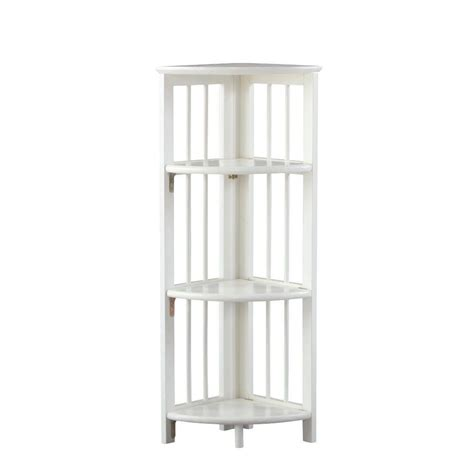 white folding bookcase home decorators collection white folding corner open bookcase 2769600410 the home depot