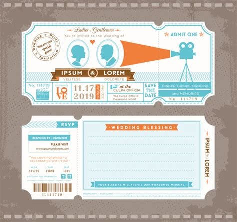 wedding invitation ticket template vector free vector in