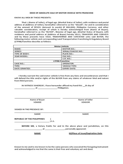 Deed Of Absolute Sale Of Motor Vehicle Car Sale Deed Template Usa
