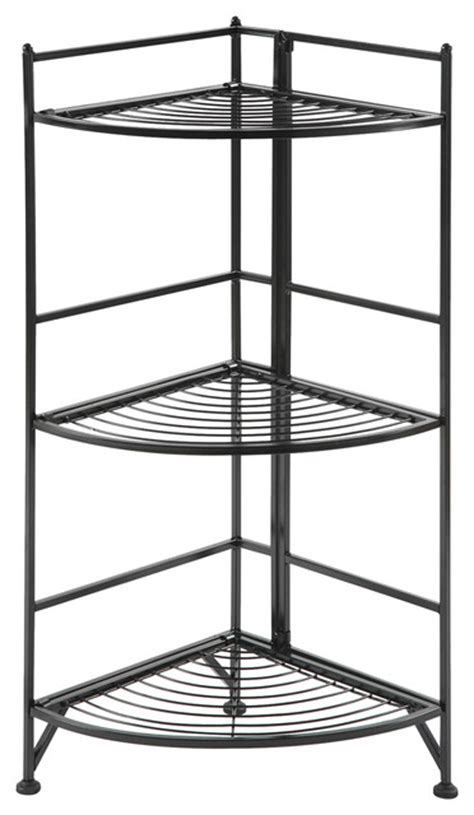 designs2go 3 tier corner folding metal corner shelf black