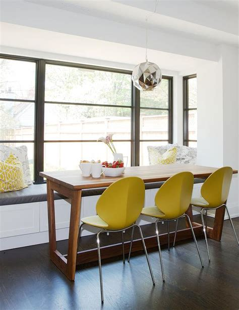 breakfast table with bench seat modern wood dining table with yellow dining chairs