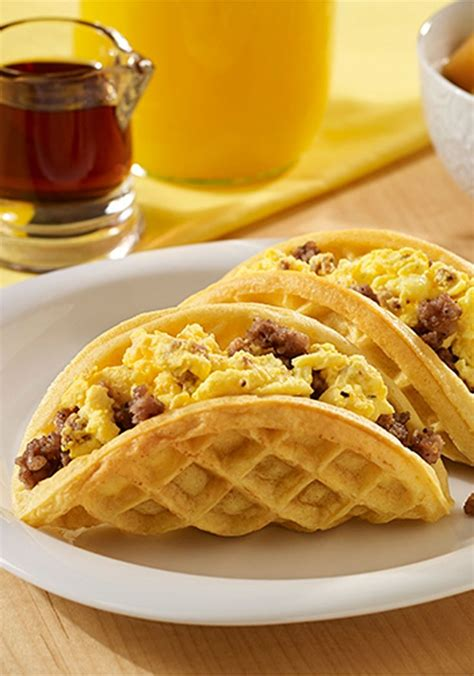 breakfast dinner sausage and egg waffle tacos recipe waffle taco