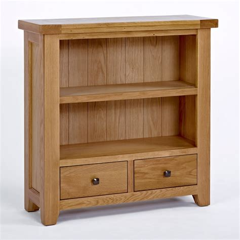 small low 2 shelf bookcase with drawers solid oak