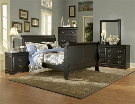 black sleigh bedroom set bastille black finish classic sleigh bedroom furniture set