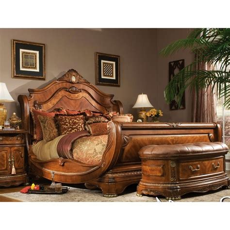 sleigh bedroom set king aico cortina king size sleigh bed bedroom set in honey