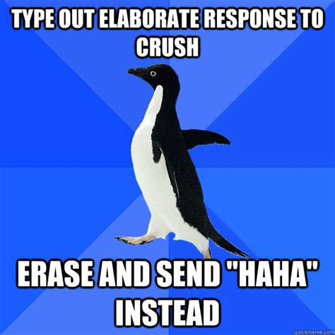 Socially Awkward Penguin Memes - type out elaborate response to crush erase and send quot haha