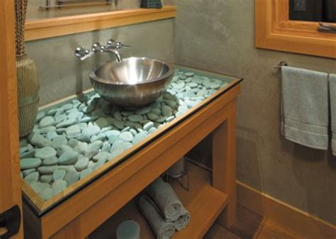 cool countertop ideas countertop idea glass over river rocks home sweet home bathroom pinterest be cool
