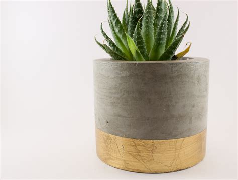 Gold Planters by Dipped Concrete Planter Pot Gold Leaf Felt