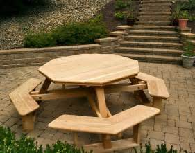 round wooden picnic tables viewing gallery