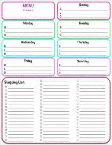 editable menu planner template editable grocery list or shopping list template exles