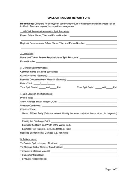 serious incident report template spill or incident report form in word and pdf formats