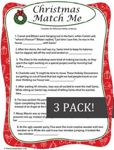 printable christmas fill in the blank games 1000 images about christmas party games on pinterest
