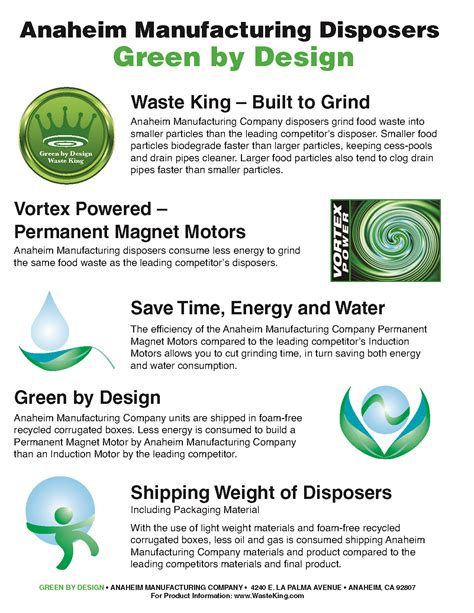 design for green manufacturing waste king green by design waste king disposal units