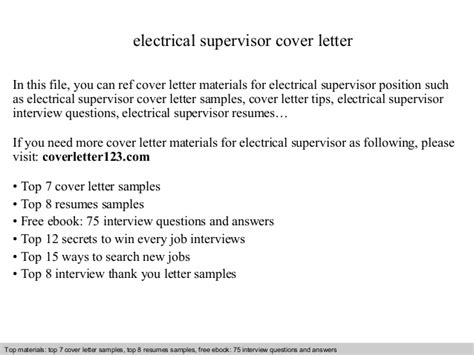 Electrician Supervisor Cover Letter by Electrical Supervisor Cover Letter