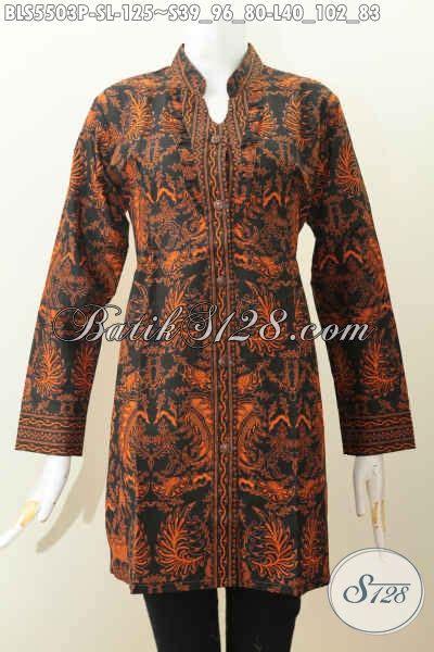 Blus Batik Shanghai Panjang 78 batik blus motif klasik busana batik elegan berkelas model lengan panjang kerah shanghai untuk