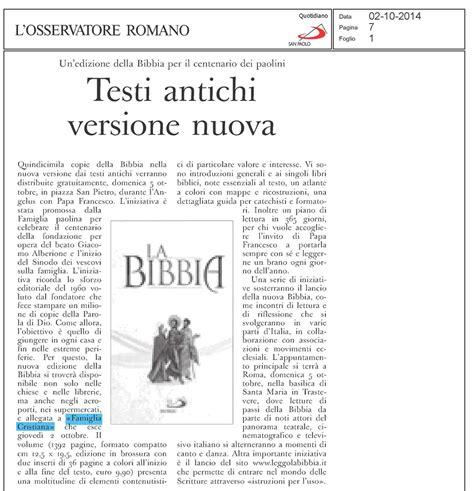 bibbia santa sede l osservatore romano riporta la notizia sulla nuova bibbia