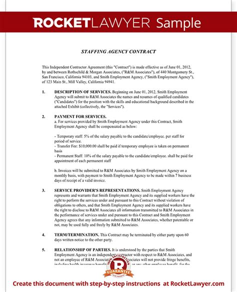 placement agreement template staffing agency agreement staffing agency contract