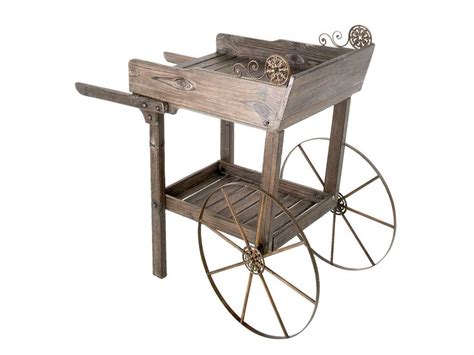 rollen wagen rolling cart wagon flower garden wood metal decorative ebay