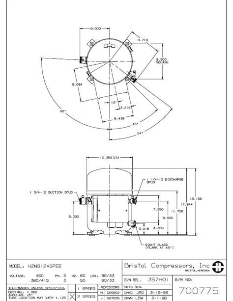 Compressor Hermetic Piston Bristol H2ng124gpe Area