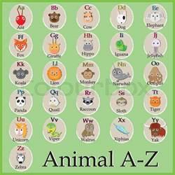 cute animal alphabet funny cartoon character a b c d